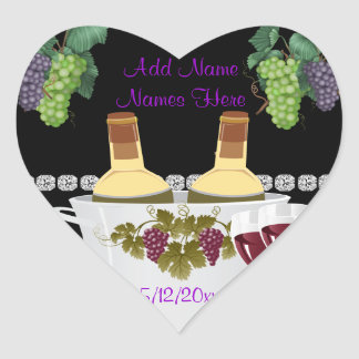 Etiquetas autoadhesivas del vino del BODA PARA las Pegatina En Forma De Corazón