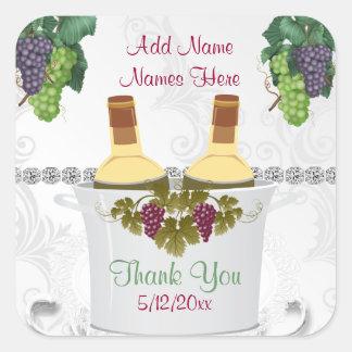 Etiquetas autoadhesivas del vino del BODA para los Pegatinas Cuadradases