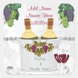 Etiquetas autoadhesivas del vino del BODA para los Pegatina Cuadrada