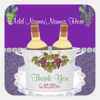 Etiquetas autoadhesivas del vino para los FAVORES Pegatina Cuadrada