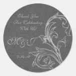 Etiquetas autoadhesivas grises del favor del boda