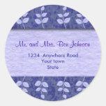 Etiquetas autoadhesivas púrpuras de la dirección pegatina redonda