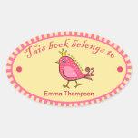 Etiquetas autoadhesivas rosadas del libro del pegatina de óval