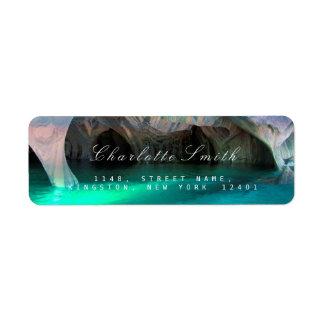 Etiquetas azules acuáticas del remite del océano etiqueta de remitente