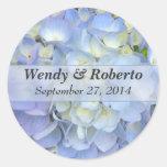 Etiquetas azules claras del favor del boda del etiquetas redondas