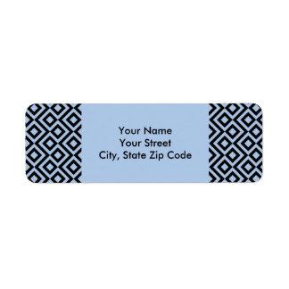 Etiquetas azules claras y negras del remite del etiqueta de remitente