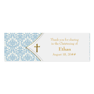 Etiquetas azules de Bomboniere de la cruz del oro Plantillas De Tarjetas Personales