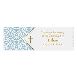 Etiquetas azules de Bomboniere de la cruz del oro  Tarjetas De Visita Mini
