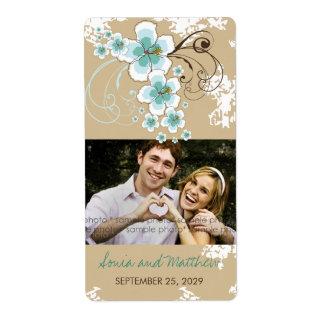 Etiquetas azules de la foto del boda del hibisco etiqueta de envío
