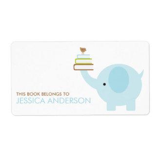 Etiquetas azules de los Bookplates del elefante Etiqueta De Envío