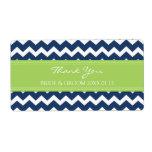 Etiquetas azules del boda de Chevron de la cal Etiquetas De Envío