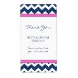 Etiquetas azules del boda de Chevron de las rosas  Etiqueta De Envío