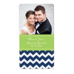 Etiquetas azules del boda de la foto de Chevron de Etiquetas De Envío