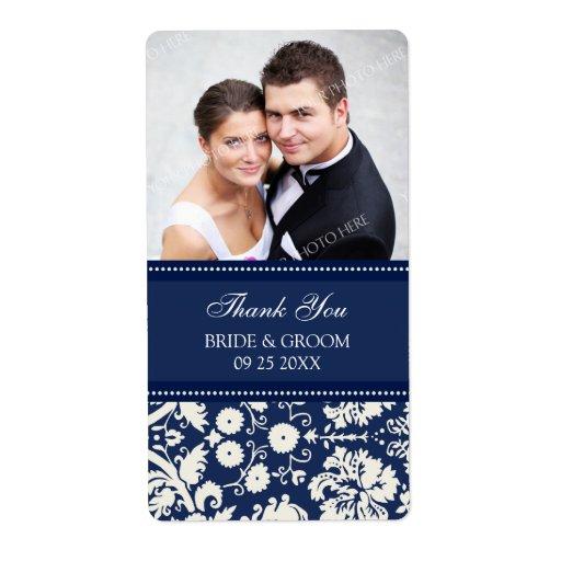 Etiquetas azules del boda de la foto del damasco etiqueta de envío