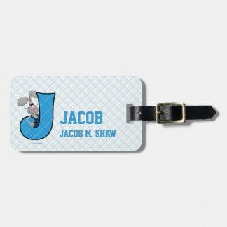 """Etiquetas azules del equipaje del monograma """"J"""" de Etiqueta Para Equipaje"""