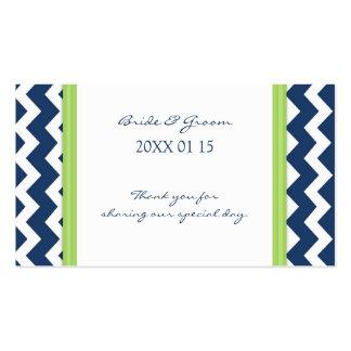 Etiquetas azules del favor del boda de Chevron de Tarjetas Personales