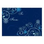 Etiquetas azules del regalo de los copos de nieve  tarjeta de visita