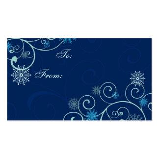 Etiquetas azules del regalo de los copos de nieve tarjetas de visita