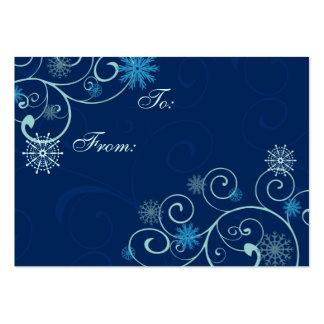 Etiquetas azules del regalo de los copos de nieve tarjetas de visita grandes