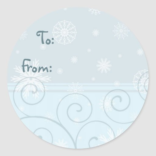 Etiquetas azules del regalo del copo de nieve del etiquetas redondas
