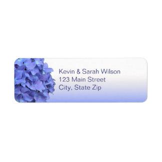 Etiquetas azules del remite del Hydrangea Etiqueta De Remite