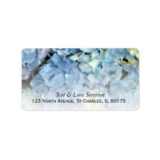 Etiquetas azules del remite del Hydrangea Etiqueta De Dirección
