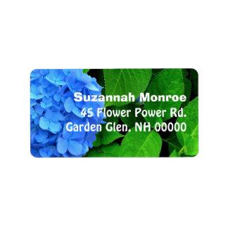 Etiquetas azules del remite del Hydrangea y de las Etiquetas De Dirección