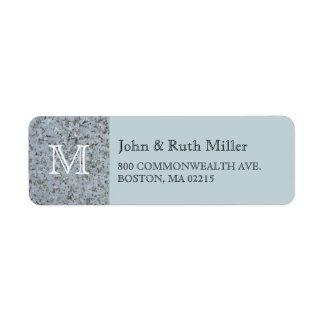 Etiquetas azules del remite del monograma del etiqueta de remitente