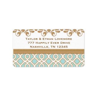 Etiquetas azules del remite del oro de la cáscara  etiquetas de dirección