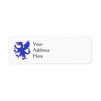 Etiquetas (azules) desenfrenadas del remite del etiqueta de remitente