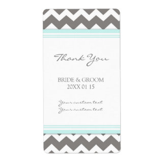 Etiquetas azules grises del boda de Chevron Etiqueta De Envío