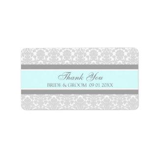 Etiquetas azules grises del boda del damasco etiquetas de dirección