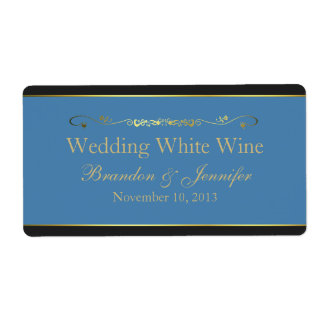 Etiquetas azules, negras y del oro mini del vino d etiqueta de envío