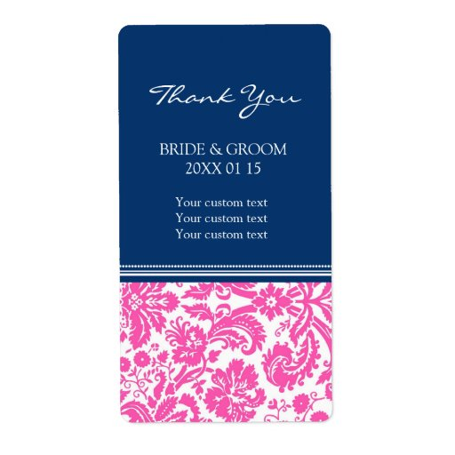 Etiquetas azules rosadas del boda del modelo del d etiqueta de envío