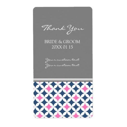 Etiquetas azules rosadas grises del boda del model etiquetas de envío