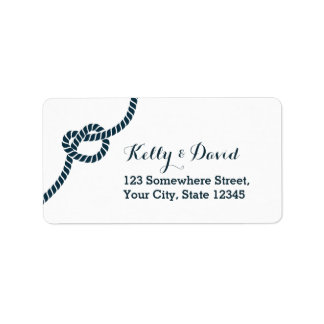 Etiquetas azules simples del remite del nudo de la etiqueta de dirección