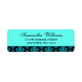 Etiquetas azules y negras del trullo del damasco d etiquetas de remite
