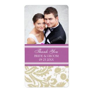 Etiquetas beige del boda de la foto del damasco de etiquetas de envío