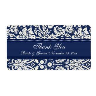 Etiquetas blancas azules del boda del damasco etiqueta de envío