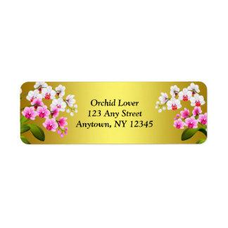 Etiquetas blancas de las flores de la orquídea del etiqueta de remitente