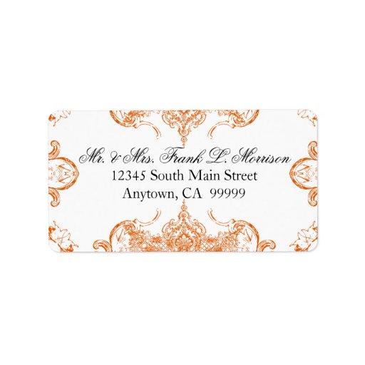 Etiquetas blancas del boda del remolino del etiquetas de dirección