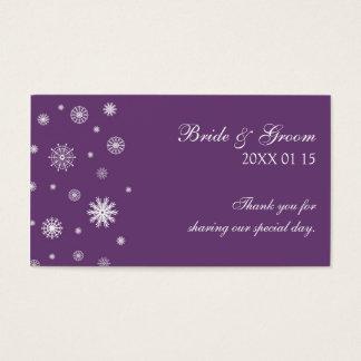 Etiquetas blancas del favor del boda del invierno tarjetas de visita