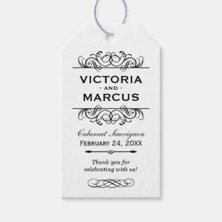 Etiquetas blancas del favor del monograma de la etiquetas para regalos