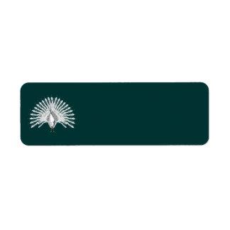 Etiquetas blancas del pavo real etiquetas de remite