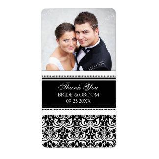 Etiquetas blancas negras del boda de la foto del d etiqueta de envío