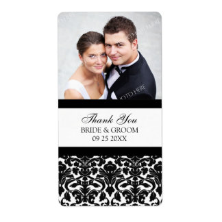 Etiquetas blancas negras del boda de la foto del d etiquetas de envío