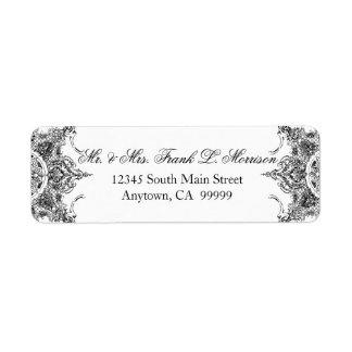 Etiquetas blancas negras del boda del remolino del etiqueta de remite