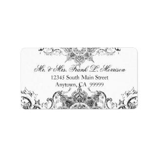 Etiquetas blancas negras del boda del remolino del etiqueta de dirección