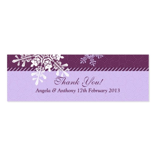Etiquetas blancas púrpuras del favor del boda del  tarjeta de negocio