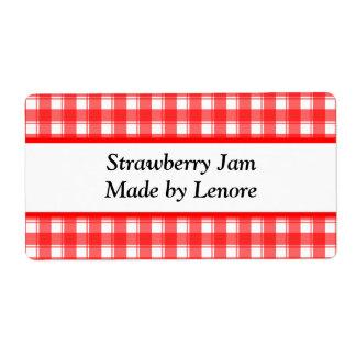 Etiquetas blancas rojas de encargo del enlatado o  etiquetas de envío